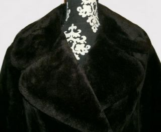 Plush Vintage Davis of Boston Jonathan Logan Black Faux Fur Coat M L