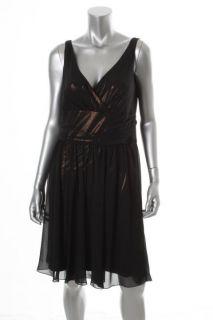 Jones New York NEW Black Metallic Chiffon Overlay Sleeveless Cocktail Dress 10