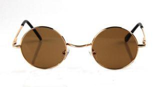 John Lennon Sunglasses Round Hippie Shades Retro Smoked Lenses Gold Metal Black