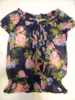 Abercrombie Fitch Jorie Sheer Floral Top Blouse Women's M