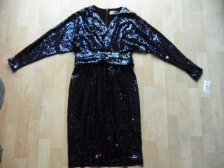 $460 Teri Jon Blue Whole Sequined Dress Sz 6