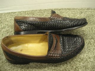 Johnston Murphy Loafers Woven Leather Shoes Very Good Cond Mens Used 10 M