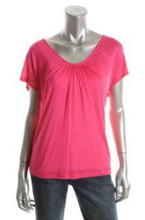 Joie New Capri Pink Cap Sleeve Oversized Shirt Stretch Knit Top s BHFO