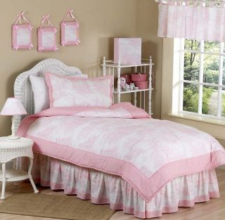 Sweet JoJo Designs Cheap Pink Toile Teen Kids Twin Sized Girl Bedding Set Room