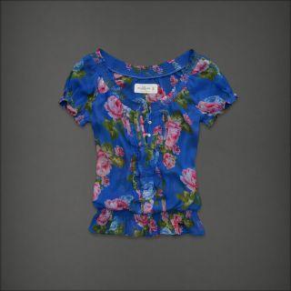Abercrombie Fitch Women Sheer Floral Peasant Boho Top Shirt Blouse Jorie