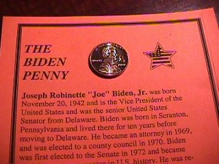8 VICE PRESIDENT JOE BIDEN PENNY 1 CENT US COIN NEW LIMITED EDITION DEMOCRAT