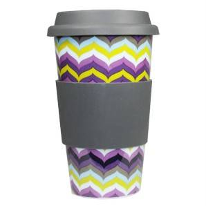 JONATHAN ADLER Eco Friendly THERMAL TRAVEL MUG coffee tea cup FLAME NEW ceramic