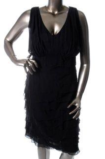 Jones New York New Black Chiffon Cocktail Dress Plus 20W BHFO