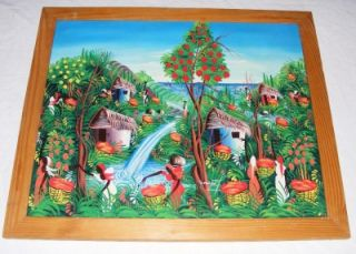 Vintage Signed Joseph L Haitian Primitive Oil on Canvas Painting Village Life