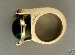 Designer Jordin Estate 1950s 10 0ct Cabochon Emerald Heavy Bezel Set Gold Ring