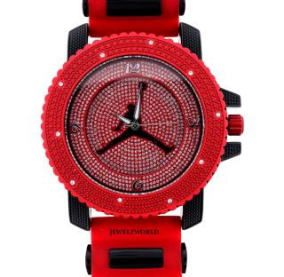Iced Out Red Black Jordan Air Jumpman Logo Silicone Watch