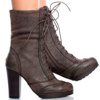 Brown Victorian Oxford Women Platform Chunky High Heel Ankle Boots Size 7