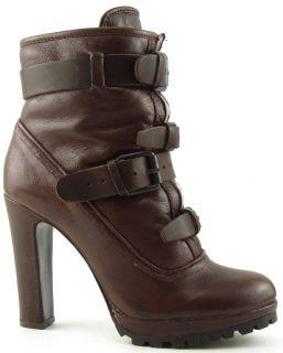 Dolce Vita Josh Brown Real Fur Womens Designer Buckled Platform Boots 6