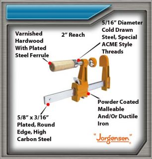 1 set of four 4 3704 Jorgensen Light Duty Adjustable Steel Bar Clamp woodworker
