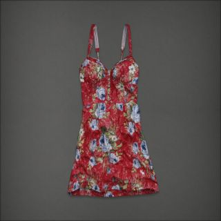 NWT ABERCROMBIE FITCH 68 Jorie Floral dress red S M