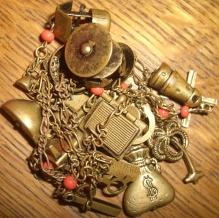 """Vintage Marked Beautiful Jools 30"""" Charm Necklace Brass Tone 13 Charms"""