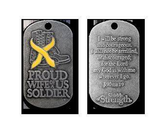 "Army Proud Wife of A Soldier Joshua 1 9 Antique Finish Dog Tag with 24"" Chain"