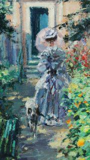 Hans Joseph Wilhem Becker Impressionist Lady w Dog Floral Garden Painting