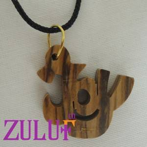 Joy Hand Carved Olive Wood Pendant From Bethlehem Christian Religious Necklace