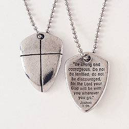 SHIELD OF FAITH Pendant Necklace Chain Cross Joshua 1 9 Be Strong Courageous