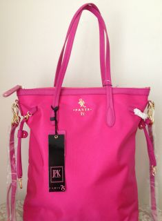 JPK Paris 75 Nylon Leather N s Shopper Bag Purse Tote Satchel Hot Pink $240