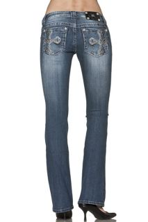 Miss Me JP6133B Two Tone Vizantine Rounded Cross Boot Cut Lowrise Stretch Jeans