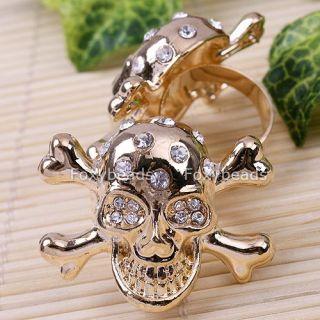 1pc Cool Punk Golden Skull Head Crystal Men Cocktail Adjustable Finger Ring 6 5
