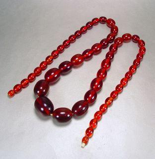 Vintage Art Deco Necklace Bakelite Cherry Amber Root Beer Catalin 1930s Jewelry