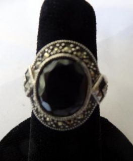 JUDITH JACK STERLING SILVER MARCASITE RING with A BLACK STONE