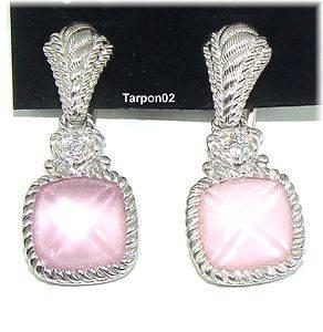Judith Ripka Diamonique Pink Glass Omega Glass  Earrings 1 1 4