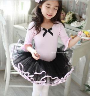 Girl Party Leotard Ballet Tutu Costume Dance Dress 3 8Y Middle Sleeve Pink Black |