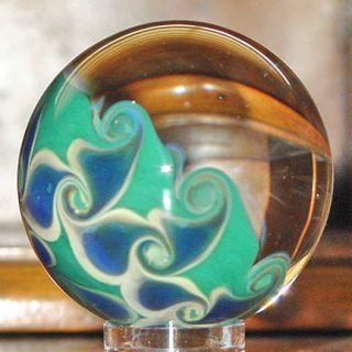 Josh Mazet Iridescent Blue Green Skull Art Glass Marble