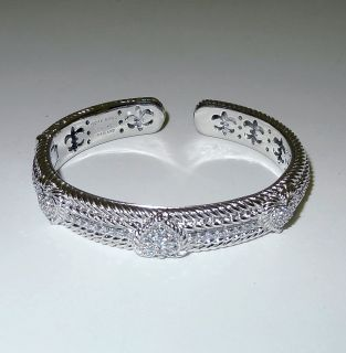 Judith Ripka Sterling Diamonique CZ Heart Hinged Cuff Bracelet