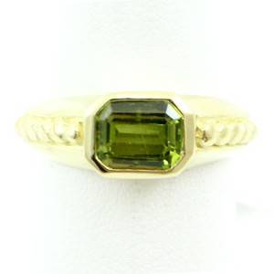 Judith Ripka 18k Yellow Gold and Green Peridot Band Ring