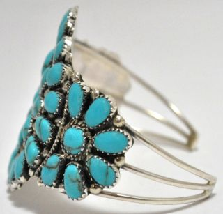 Navajo Turquoise Cluster Sterling Silver Cuff Bracelet Juliana Williams