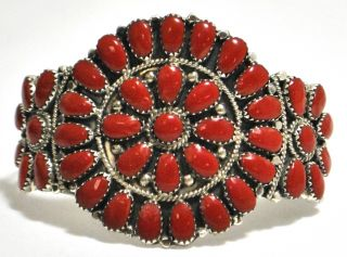 Navajo Coral Cluster Sterling Silver Cuff Bracelet Juliana Williams