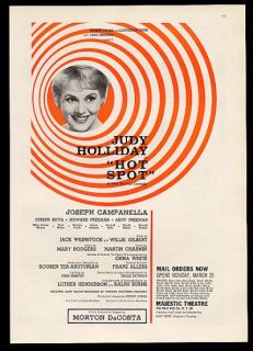 1963 Judy Holliday photo Hot Spot NYC Majestic Theatre promo print ad