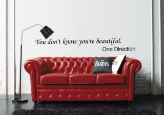 One Direction Wall Sticker Quote Girls Bedroom Wall Art