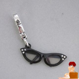 New Authentic Boxed Juicy Couture Cat Eye Glasses Charm Black Silver YJRU5460