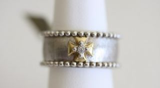 Jude Frances Sterling Silver 18K Gold Diamond Maltese Band
