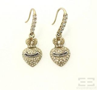 Juicy Couture 2pc Silver Heart Charm Bracelet Jeweled Heart Drop Earrings Set
