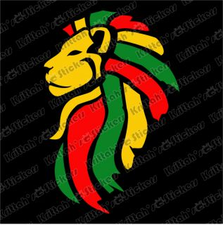 Lion Rasta Head Yellow Vinyl Decal 2x3 Judah Reggae Bob Marley Dub