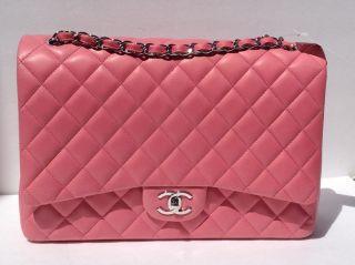 NWT Classic MAXI DARK PINK ROSE Jumbo Flap Bag XL Lambskin GR8T COLOR