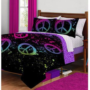 Peace Paint Complete Bed in A Bag Bedding Set Twin Full Queen