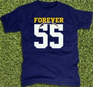 Junior Seau San Diego Chargers Tribute T Shirt Jersey NFL 55 New