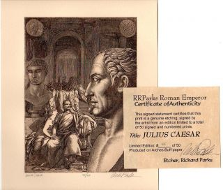 JULIUS CAESAR of ROME ROMAN LIMITED EDITION sd ETCHING +REAL ANCIENT