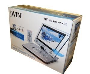 JWIN JD VD762 9 TFT SWIVEL SCREEN DISPLAY PORTABLE SILVER DVD PLAYER