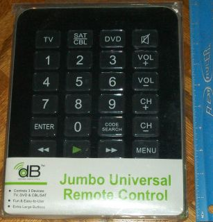 New Jumbo Universal Remote Control Easy to Use XL Buttons Fun