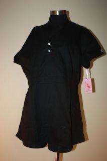 Koi by Kathy Peterson Black Justine Scrub Top Large L Uniform