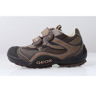 Kids Boys Geox J Savage s Brown Beige Velcro Sneaker J1324S C0021